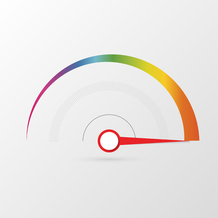 Colorful tachometer, speedometer icon, performance measurement symbol. Vector illustration