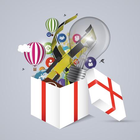 container box: Full open gift box. Vector illustration Illustration