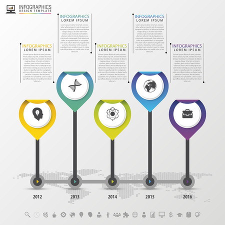 decade: Timeline Infographic with pointers. Modern design template. Vector illustration