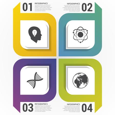 Carrés modernes Modèle de conception infographique. Illustration vectorielle Banque d'images - 48268363
