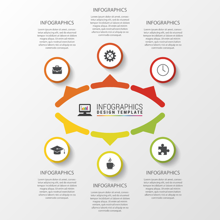 six web website: vBusiness concept with 6 options, parts, steps or processes. Template for diagram, graph, presentation and chart. Vector illustration