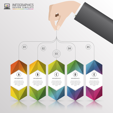 Infographic with banners on the grey background. Vector illustration Illustration