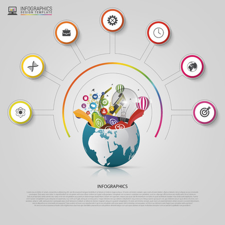 digital world: Infographic design template. Creative world. Colorful circle with icons. Vector illustration.