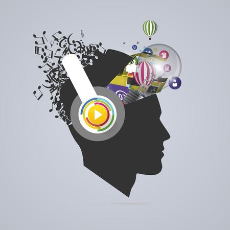추상 크리 에이 티브 열기 머리. 천재의 마음. 음악 아티스트. 벡터.