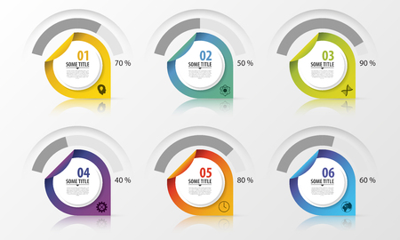 share prices: Percentage Diagram Presentation Design Elements. Infographics. Vector illustration.