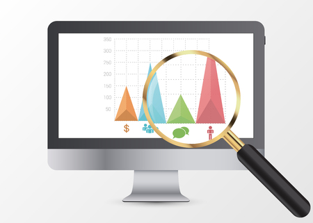 Marketing data analytics, analyzing statistics chart. Magnifier. Vector illustration. Illustration