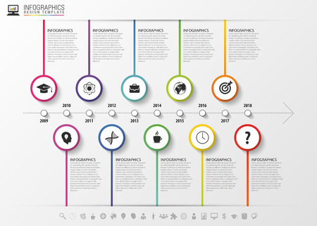 Infografica timeline. modello di progettazione moderno con le icone. Illustrazione vettoriale. Archivio Fotografico - 50018286