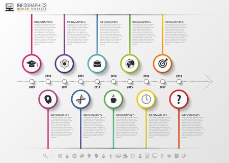 Timeline infographics. Modern design template with icons. Vector illustration. Ilustração