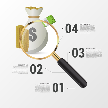 fonds: Investment analysis graphic design concept with magnifying glass. Vector illustration. Illustration