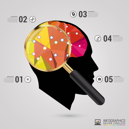 person thinking: Infographics concept. Brain vector design template.