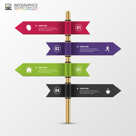 multidirectional: Infographic template of multidirectional pointers on a signpost.