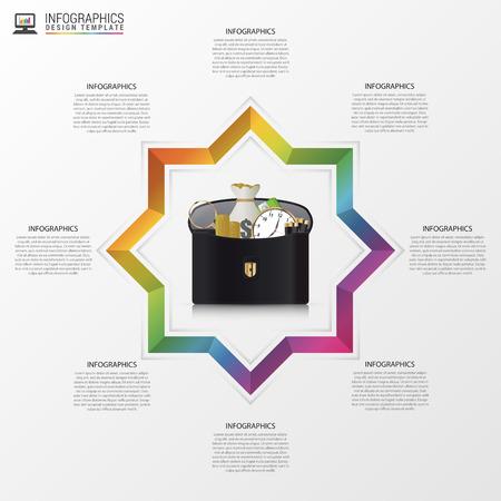 business case: Infographic design template. Creative business case. Vector illustration. Illustration