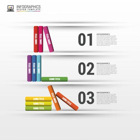 book racks: Books step business education infographics.