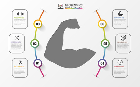 workout gym: Fitness statistics and infographics with biceps. Vector illustration
