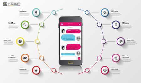 messenger: Infographic. Sms messenger. Colorful circle with icons. Vector illustration.