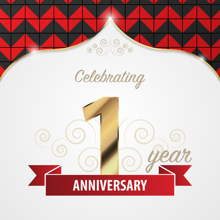 1 year anniversary: 1 year anniversary celebration. Golden style. Vector illustration