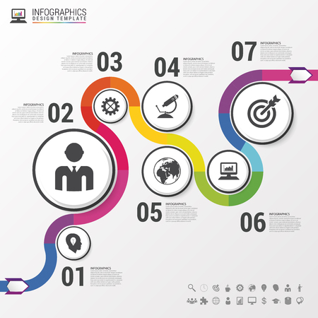 Abstract colorful business path. Timeline infographic template. Vector illustration 向量圖像