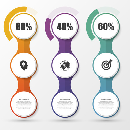 Porcentaje Diagrama de Presentación elementos de diseño. Infografía. Ilustración del vector.