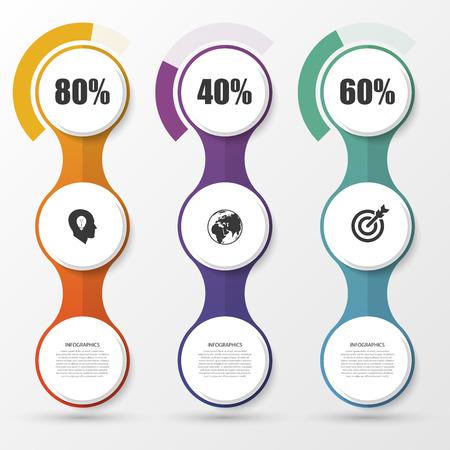 Percentage Diagram Presentation Design Elements. Infographics. Vector illustration.