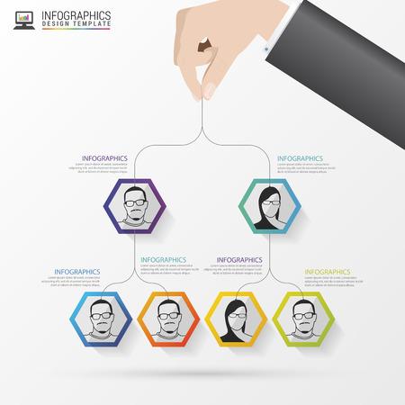estructura: Estructura de negocio. Organigrama. diseño de infografía. ilustración vectorial Vectores