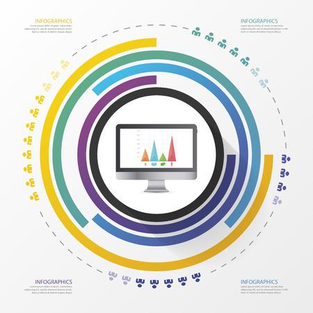 twine: Circular stylish multicolor round. Infographic design template. Vector illustration.