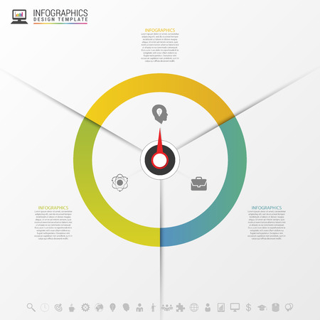 three phase: Infographics step by step with pointer. Business concept. Vector illustration Illustration