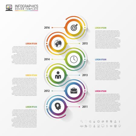 タイムライン インフォ グラフィック テンプレート。カラフルなモダンなデザイン。ベクトルの図。  イラスト・ベクター素材