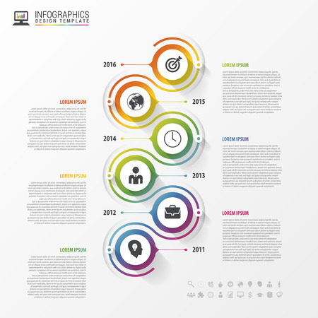 flow diagram: Timeline infographics template. Colorful modern design. Vector illustration.