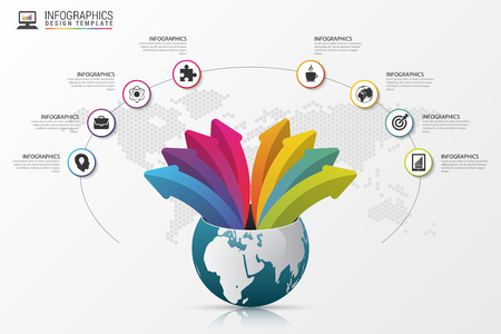 design icon: Infographic design template. World with arrows. Vector illustration. Illustration