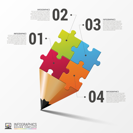 Education infographic with jigsaw pieces. Vector illustration  イラスト・ベクター素材