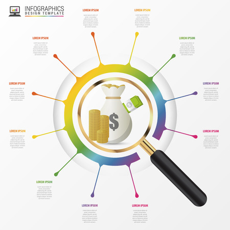 fonds: Investment analysis graphic design concept with magnifying glass. Vector illustration