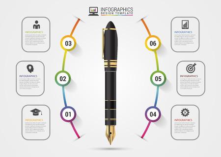 business pen: Infographics design template. Business Pen. Vector illustration