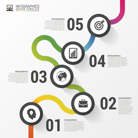 Abstract colorful business path. Timeline infographic template. Vector illustration Фото со стока - 53582932