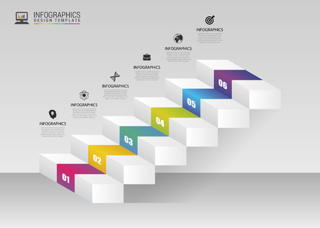 Abstract 3d stairs. Infographic or timeline template. Vector illustration Çizim