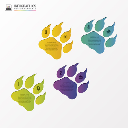 animal foot: Animal foot modern design template. Infographics. Vector illustration
