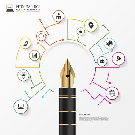 business pen: Infographics design template. Business Pen. illustration
