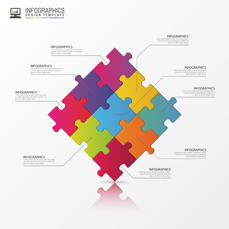 Puzzle piece infographics business concept. illustration