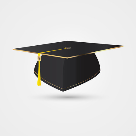 final college: Graduation cap in golden style. illustration