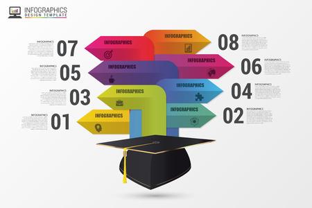 Absolventenmütze. Infografik mit Pfeilen. Moderne Vorlage. Illustration