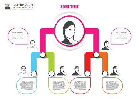 multilevel: Organization chart infographics design. Infographics. Vector illustration