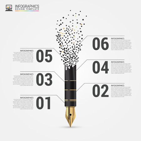 Creatieve flow chart met pen. Vector illustratie
