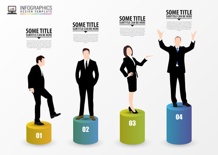 growth chart: Business people. Infographic design template. Vector illustration