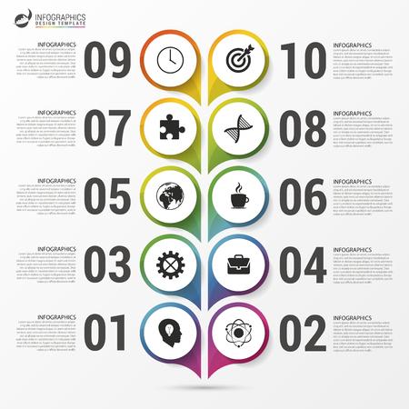 Modèle d'infographie de chronologie. Design moderne coloré. Illustration vectorielle Banque d'images - 69672909