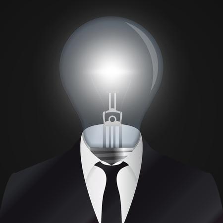 Idea. Human head with bulb symbol. Vector illustration