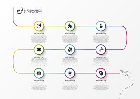 抽象的なカラフルなビジネスのパス。タイムライン インフォ グラフィック テンプレート。ベクトル図