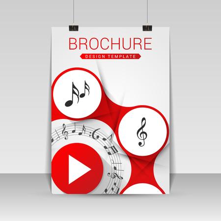 note booklet: Music brochure cover design. Flyer, poster, booklet template. Vector illustration Illustration