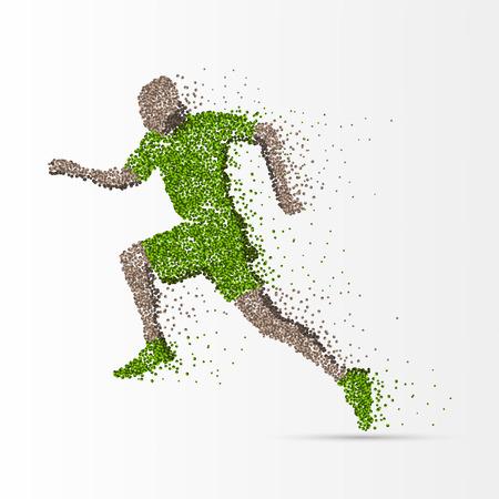 endurance run: Running man in action. Creative bubble style. Vector illustration Illustration