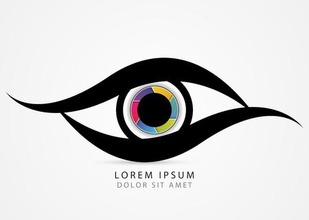 Fotograaf symbool. Kleurrijk creatief oog. Vector illustratie