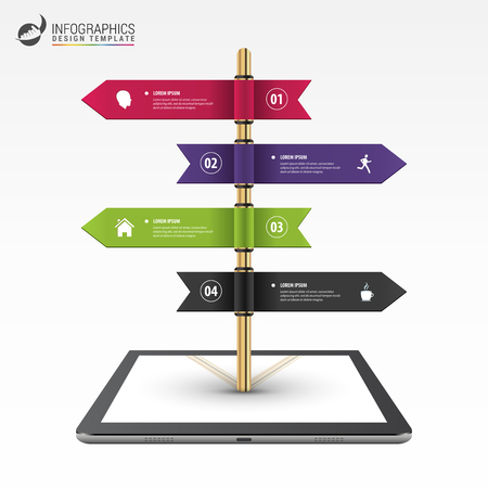 multidirectional: Infographic template of multidirectional pointers on a signpost. Vector illustration