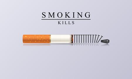 Smoking Kills. Creative illustration with burning cigarette. Vector Illustration